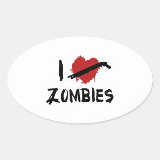 Amo el matar de zombis pegatina de oval personalizadas