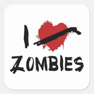 Amo el matar de zombis calcomanías cuadradas personalizadas