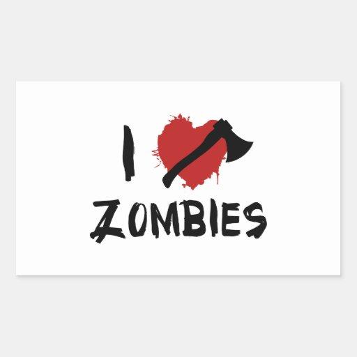 Amo el matar de zombis pegatina rectangular