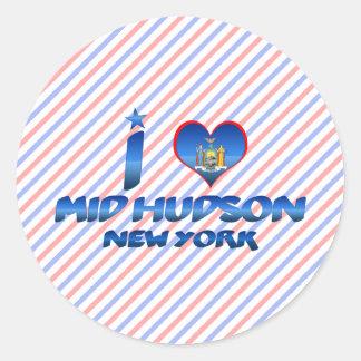Amo el mediados de Hudson, Nueva York Pegatina Redonda