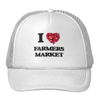 Amo el mercado de los granjeros gorro de camionero