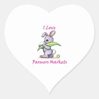 Amo el mercado de los granjeros calcomanías corazones personalizadas