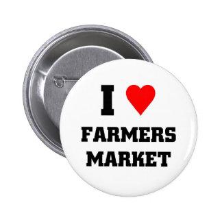 Amo el mercado de los granjeros pin redondo de 2 pulgadas