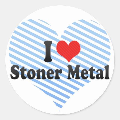 Amo el metal de la deshuesadora etiquetas redondas