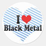 Amo el metal negro etiquetas redondas