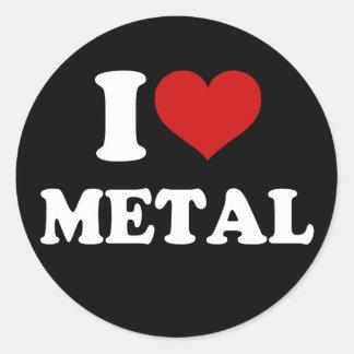 Amo el metal pegatina redonda