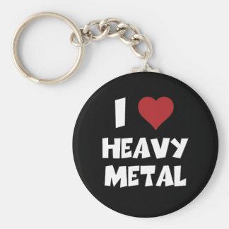 Amo el metal pesado llavero redondo tipo pin
