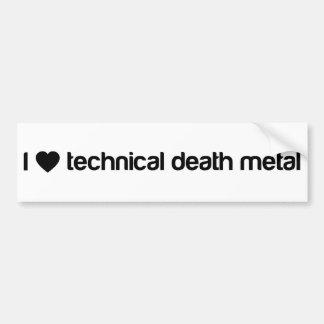 Amo el metal técnico de la muerte pegatina para auto