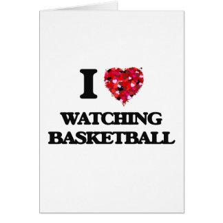 Amo el mirar de baloncesto tarjeta de felicitación