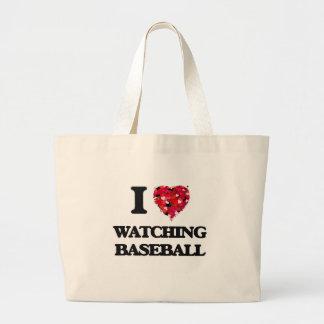 Amo el mirar de béisbol bolsa tela grande