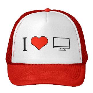 Amo el mirar en una pantalla ancha gorras