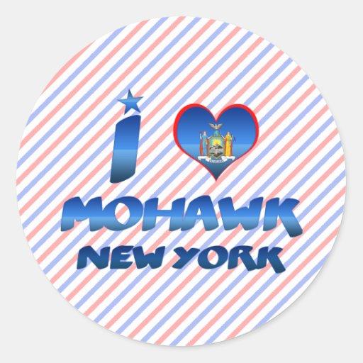 Amo el Mohawk, Nueva York Pegatina Redonda
