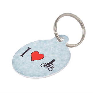 Amo el montar de una bici identificador para mascota
