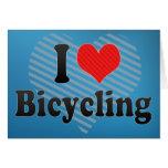 Amo el montar en bicicleta tarjeta
