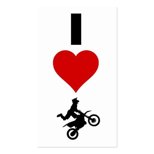 Amo el motocrós (vertical) tarjetas de visita