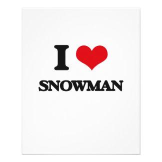 Amo el muñeco de nieve flyer a todo color