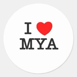 Amo el Mya Pegatina Redonda