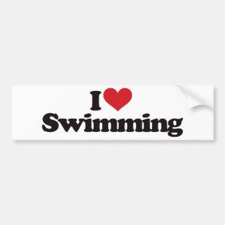 Amo el nadar pegatina para auto