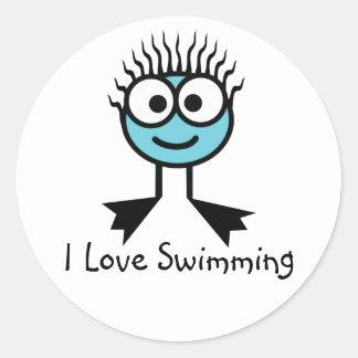 Amo el nadar de los pegatinas