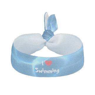 Amo el nadar del corazón rojo con agua azul de la elásticos para el pelo