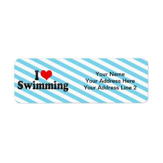 Amo el nadar etiqueta de remite