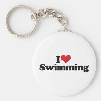 Amo el nadar llavero redondo tipo pin