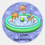 ¡Amo el nadar! Pegatina Redonda