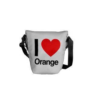 amo el naranja bolsa messenger