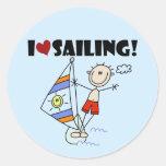 Amo el navegar de las camisetas y de los regalos pegatina redonda