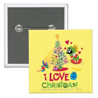 Amo el navidad - MARVIN el MARTIAN™ Pin Cuadrado