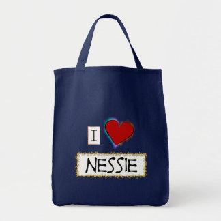 Amo el Nessie (el oro) Bolsa Tela Para La Compra