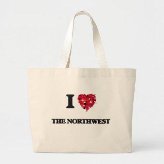 Amo el noroeste bolsa tela grande