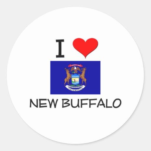 Amo el nuevo búfalo Michigan Pegatina Redonda