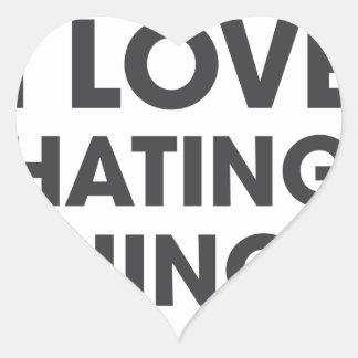 Amo el odiar de cosas pegatina en forma de corazón