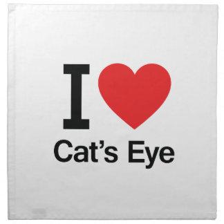 Amo el ojo de gato servilletas imprimidas