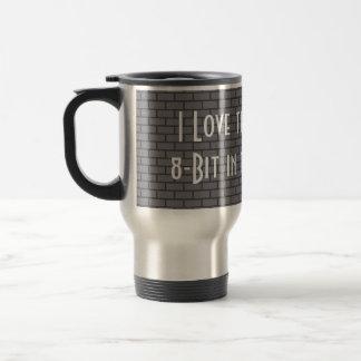 Amo el olor de 8 bits por la mañana, gris taza de viaje de acero inoxidable