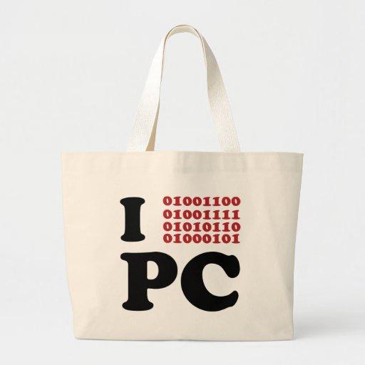 Amo el ordenador bolsa tela grande