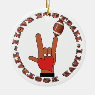 Amo el ORNAMENTO ASL del fútbol de la muestra Ornamento De Reyes Magos