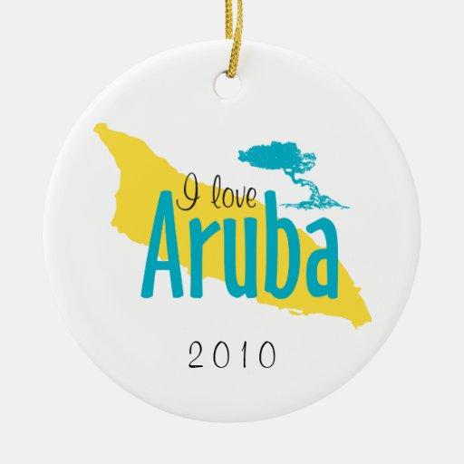 Amo el ornamento de Aruba Adorno Navideño Redondo De Cerámica