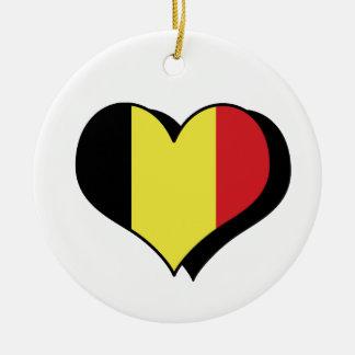 Amo el ornamento de Bélgica Adorno Navideño Redondo De Cerámica