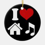 Amo el ornamento de la música de la casa adorno navideño redondo de cerámica