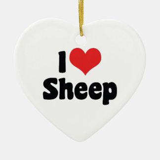 Amo el ornamento de las ovejas ornamentos de navidad