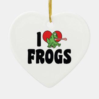 Amo el ornamento de las ranas adorno para reyes