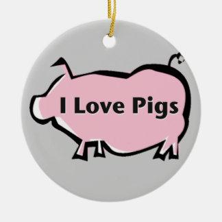 Amo el ornamento de los cerdos adorno navideño redondo de cerámica