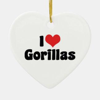 Amo el ornamento de los gorilas adorno navideño de cerámica en forma de corazón