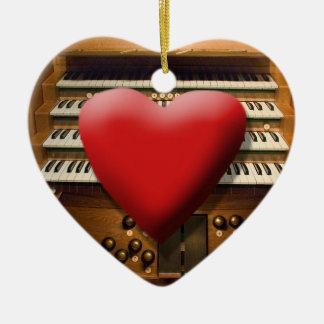 Amo el ornamento de los órganos adorno navideño de cerámica en forma de corazón