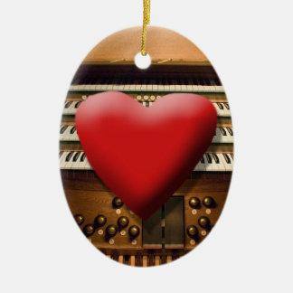 Amo el ornamento de los órganos adorno navideño ovalado de cerámica