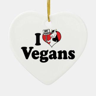 Amo el ornamento de los veganos adorno navideño de cerámica en forma de corazón
