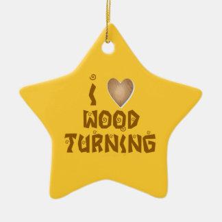 Amo el ornamento de madera de los torneros del adorno navideño de cerámica en forma de estrella