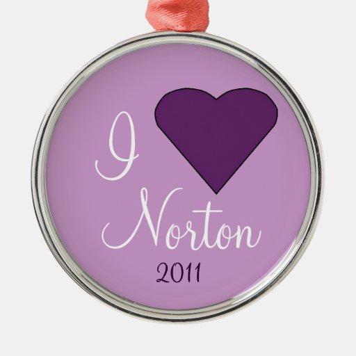 Amo el ornamento de NORTON Adorno Navideño Redondo De Metal